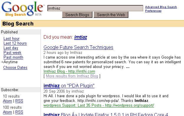 Searching for keyword imthiaz on Google Blog Search