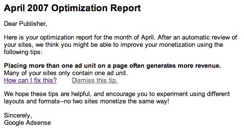Google adsense april 2007 optimization report