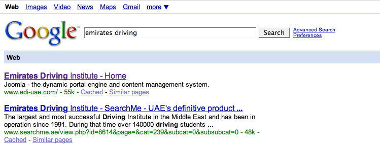 Dubai Emirates Driving Institute bad seo
