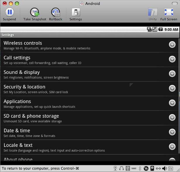 Android Settings Pannel Screen