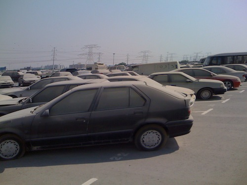 overview of cars parked on Dubai car impound. 1jpg