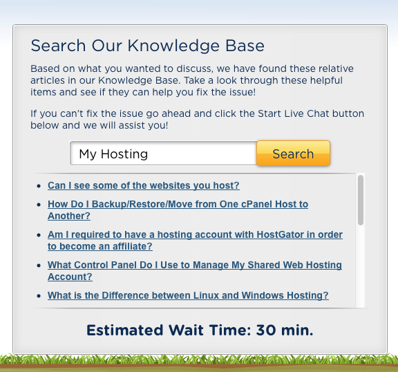 Hostgator Estimated Chat Wait Time
