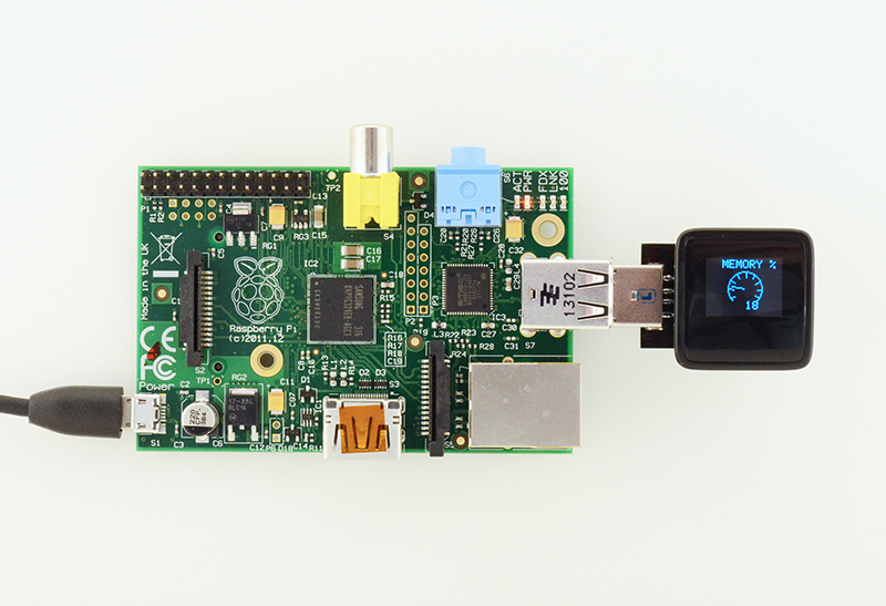 MicroView Showing Raspberry Pi Memory