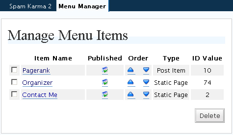 Menu manger for wordpress backend screenshot